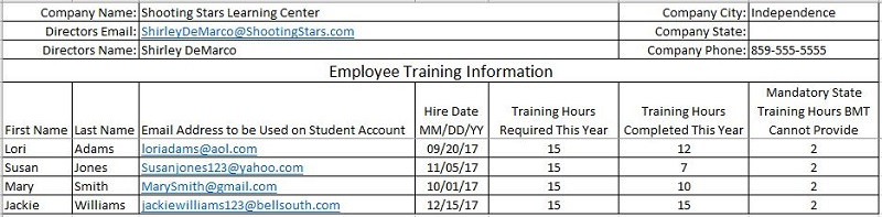 Employee Training Information Director's Assistant Program